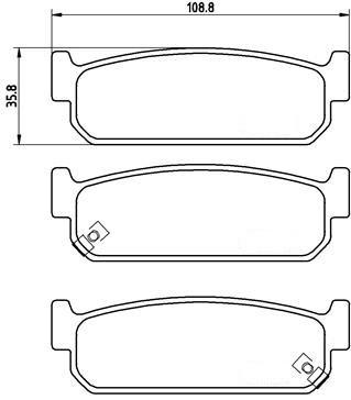 Bremsbeläge 108mm Hinterachse - Stagea AWC34 S2