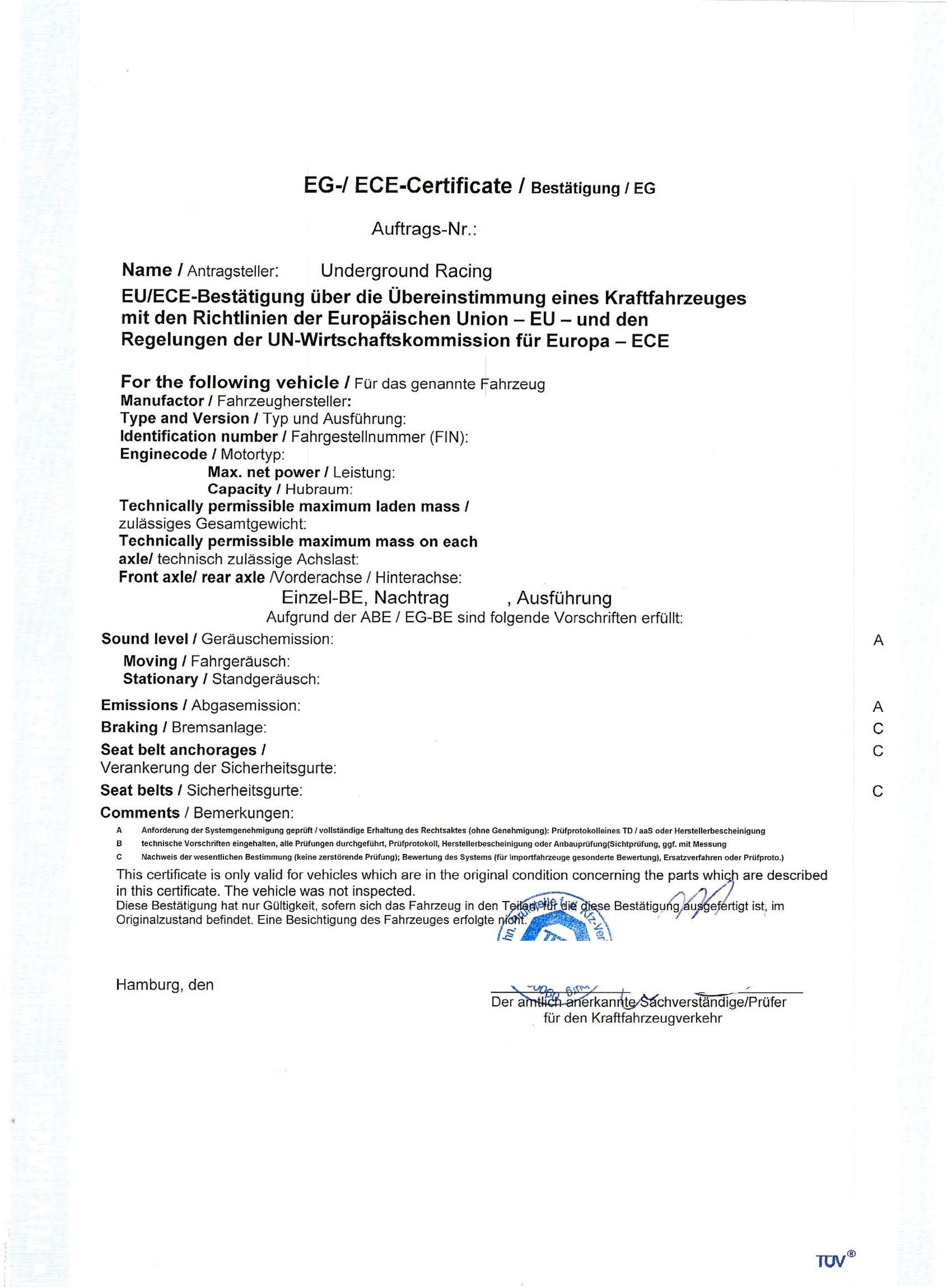EG- / ECE-Zertifikat Toyota Supra JZA80 Sauger | Underground Racing Shop